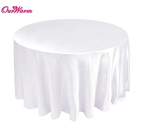 OurWarm 5pcs Brands Satin Round Table Cloth New Fashion Tablecloth for Wedding Party Hotel Banquet Table Decoration White Black  WHITE B07RQH3354