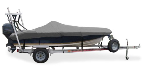 "Taylor Made Products Trailerite Semi-Custom Boat Cover for Flats Boats (18'6"" to 19'5"" Center Line Length / 96"" Beam, Gray Coated Poly)"
