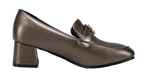 Easemax Scarpe Da Donna Tacco Basso Slip-on Mid Cut Tacco Largo Scarpe Scarpe Bronzo