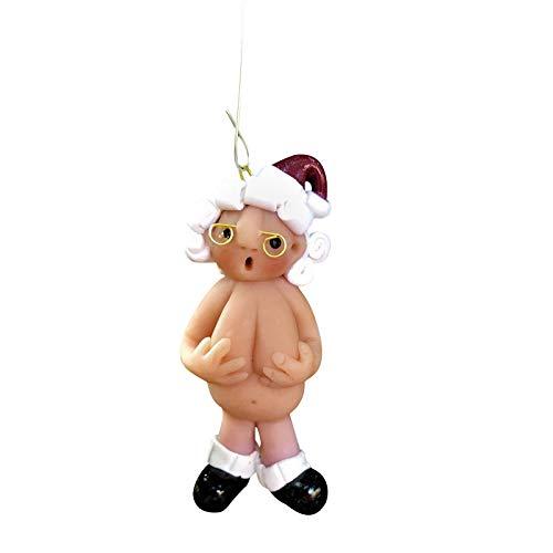 clacce Naughty Naked Santa Weihnachtsverzierung, Strumpfkappe Santa Ornament Naked Santa, Dekorationen Weihnachtsfeier Baum hängendes Dekor