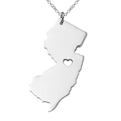 Joyplancraft New Jersey State Necklace,NJ State Charm Necklace,Personalized New Jersey State Necklace With A Heart (Silver)
