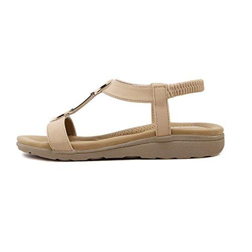 con de imitación para planas pies ancha correa albaricoque mujeres 7 de 2 con 5 Sandalias diamantes diseño para Xz71fYY