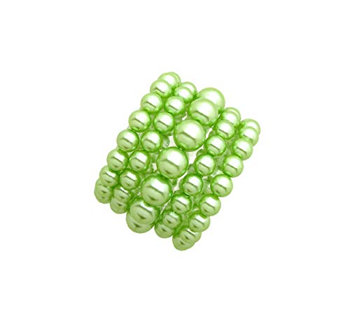 Fashion 21 Women's Simulated Pearl Stretch Bracelet Stack 5 Piece Set (Lime Green -
