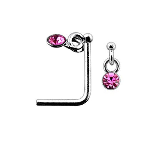 Pink Danling Gemstone Top 22 Gauge Silver L Shape - L Bend Nose Stud Nose Pin - Gemstone Nose Pin