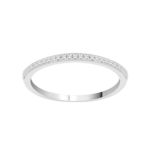0.06 (1/20) CTW Sterling Silver White Diamond Anniversary & Engagement Wedding Band Stackable Ring Size (5 9)