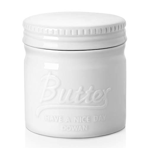 DOWAN Porcelain Butter Keeper Crock,Mason Jar Type Butter Crock,French Butter Dish,No More Hard Butter,Perfect Spreadable Consistency,White