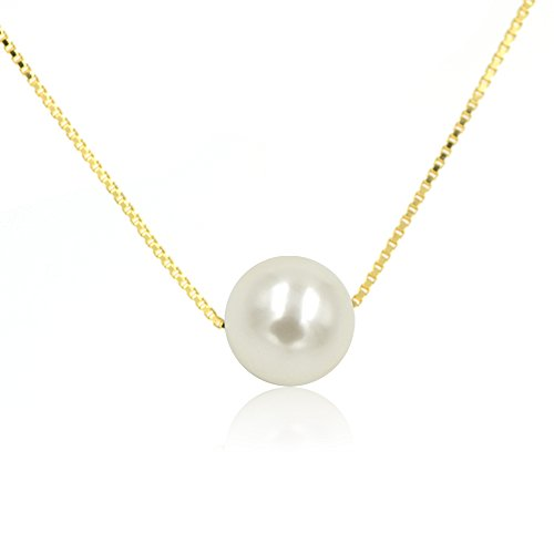 Espere 10mm Solitaire Floating Pearl Necklace 18 Inch Sterling Silver Box Chain 14K Gold Plated (Solitaire 10mm)