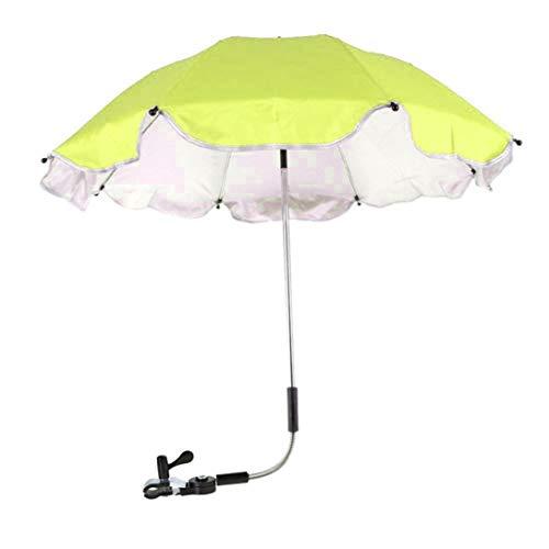 Xindda Wheelchair Pushchair Baby Stroller Umbrella, Baby Stroller Rain Cover Parasol, Sun Canopy Rain Protection UV Rays Umbrella with Adjustable Clip-On Stand Holder (Green)