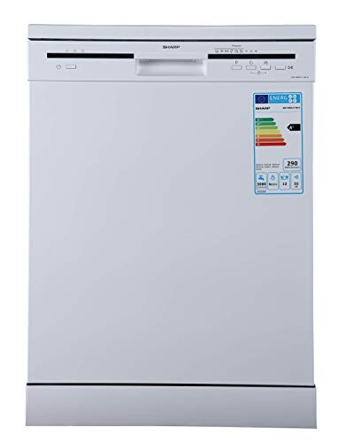 Sharp 6 Programs 12 Place settings, Free standing Dishwasher, White - QW-MB612-WH3