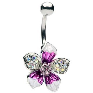 tropical flower belly ring - 2