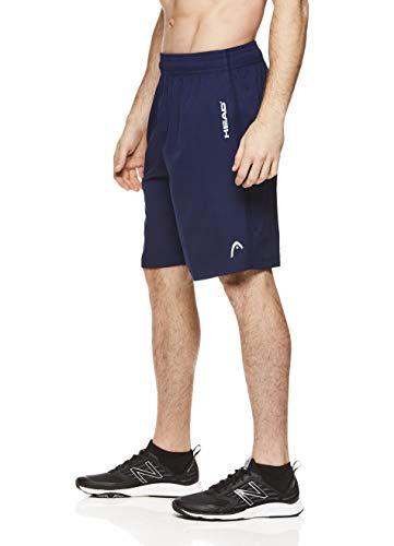 (HEAD Men's Break Point Mesh Insert Workout Gym & Running Shorts w/ Elastic Waistband & Drawstring - Break Medieval Blue, Medium)