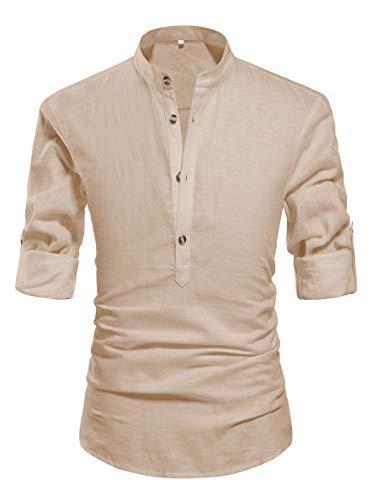ZYFMAILY Men's Long Sleeve Henley Shirt Linen Cottton Blend Beach Shirt Loose Fit Yoga Tops Khaki-US 2XL