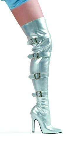 Ellie Shoes Inc Women's Buckle Thigh High Boots Silver Si...