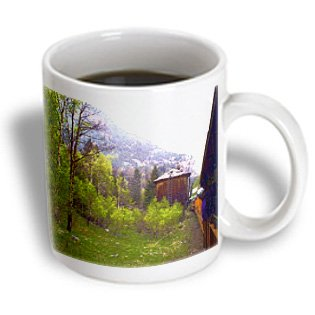 Jos Fauxtographee Realistic - The Silverton Train Going Along the Tracks and a Water Shed Building with Pretty Trees - 15oz Mug (mug_57343_2)