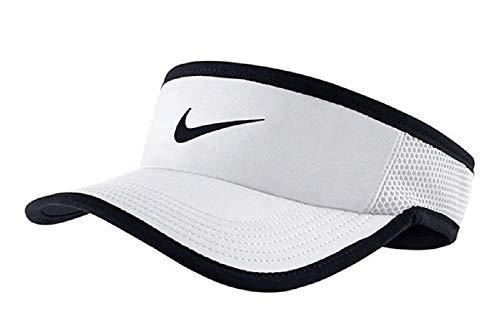 (Nike Feather Light Tennis Visor White/Black Size)
