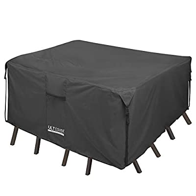 ULTCOVER 600D PVC Durable Patio Table Cover - 100% Waterproof Outdoor Furniture Covers - Black