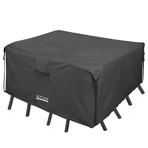 ULTCOVER 600D Tough Canvas Durable Square Patio Table with Chair Cover - Waterproof Outdoor Furniture Table Covers 54 inch, Black (Chairs Table Outdoor And Clearance)