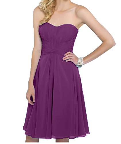Kurz Charmant Knielang Festlichkleider Einfach Chiffon Kleid Violett Abendkleider Brautjungfernkleider Damen Traegerlos xwWwSgHpqO
