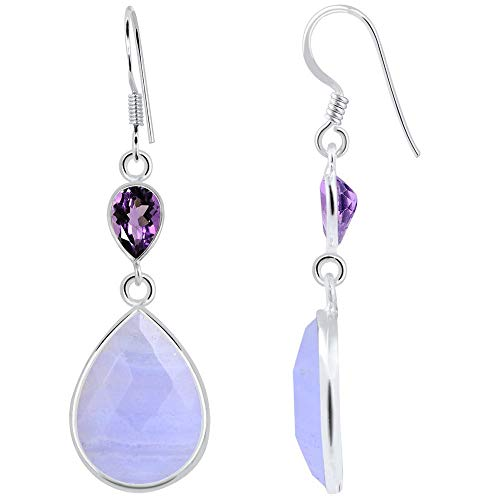 18.5 Ctw Blue Lace Agate & Amethyst Earrings By Orchid Jewelry : Hypoallergenic Dangle Earrings For Sensitive Ears, Nickel Free Wedding Earrings, Royal Blue Dangly Earrings, Sterling Silver Earring