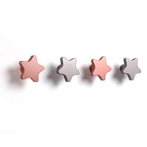SDH Wall Hooks, Stars Theme, Heavy Duty, Modern, Garment Friendly, Matt Silver and Matt Pink Color, Pack in 4 Hooks