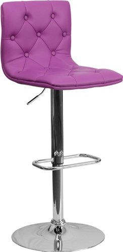 Contemporary Tufted Purple Vinyl Adjustable Height Barstool with Chrome Base by Belnick