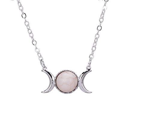 Triple Goddess Moon Symbol Pendant Necklace Opal Healing Crystal Natural Stone Sailor Moon Pendant for Women -White ()