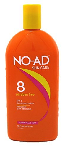 NO-AD Protective Tanning Lotion, SPF 8 16 oz (Pack of 3)