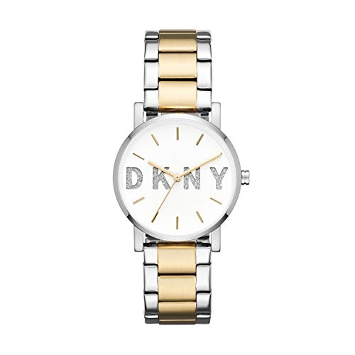 (DKNY Women's Soho Analog-Quartz Watch with Stainless-Steel Strap, Silver, 18 (Model: NY2653)