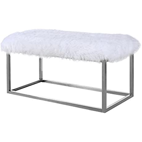 Iconic Home Marilyn Bench Ottoman Faux Fur Metal Finished Stainless Steel Metal Frame Modern Contemporary White