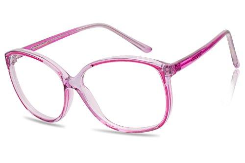 Large Colored Transparent Vintage Fashion Nerd Non-prescription Clear Lens Glasses (Transparent - Pink Nerd Glasses