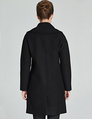 Double Trench Noir Botonnage Encoche Femme Laine À Revers Camii Mia Manteaux HqS1T