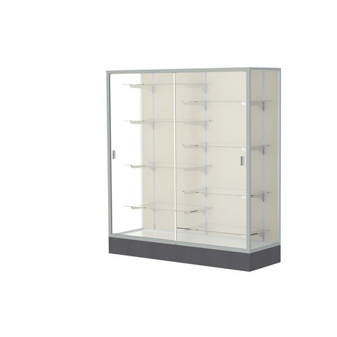 Aluminum Waddell Frame (Waddell Manufacturing Company Waddell 2605-PB-SN Colossus 60 x 66 x 20 in. Aluminum Frame Floor Display Case with Black Laminate Base44; Plaque Back - Satin)