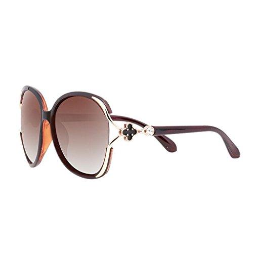de las ser gafas de gafas con sol redondas sol femeninas Gafas gafas de moda de UV Personalidad párrafo sol Polarizer cara de sol Estrella Nuevas con E Brown gafas gafas de femenina Marea pueden sol equipadas HnOWASWxF