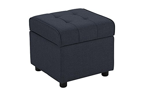 DHP Emily Square Storage Ottoman, Modern Look with Tufted Design, Lightweight, Blue ()