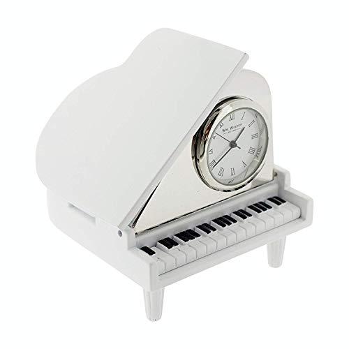 (Miniature Clock White & Silvertone Piano Novelty Collectors Clock 9650)