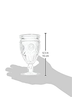 Weddingstar Vintage Inspired Pressed Glass Goblet, Clear