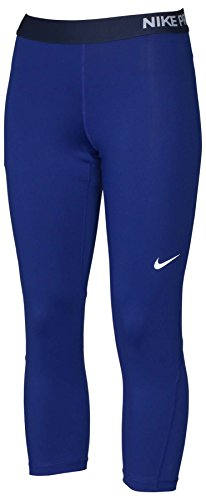 Nike Women's Dri-Fit Pro Cool Capri Tights-Navy Blue-Medium