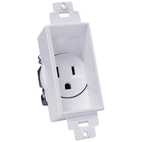 Midlite 4641-W Single-Gang D?©cor Recessed In-Wall Receptacle 125V 12A - White Consumer Electronics Accessories (Recessed Cor Receptacle)