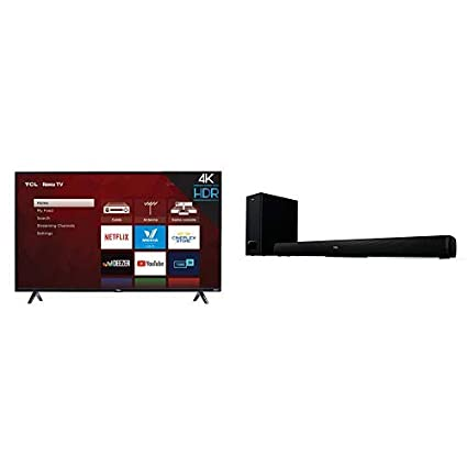 TCL 50S425 50 inch 4K Smart LED Roku TV (2019) with TCL Alto 5+ 2 1 Channel  Home Theater Sound Bar with Wireless Subwoofer - TS5010