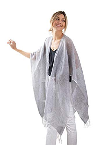 Cotton Linen Travel Wrap-Sarong-Cover-up-Scarf-Packaged in a Crisp White Voile Bag with Smooth Bamboo Handles-Matching Removable Handkerchief-One (Charcoal)