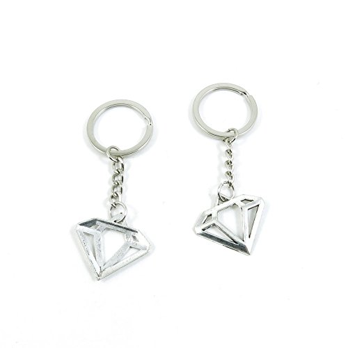 2 Pieces Keyring Keychain Keytag Key Ring Chain Tag Door Car Wholesale Jewelry Making Charms V2ZU5 Diamond Shape