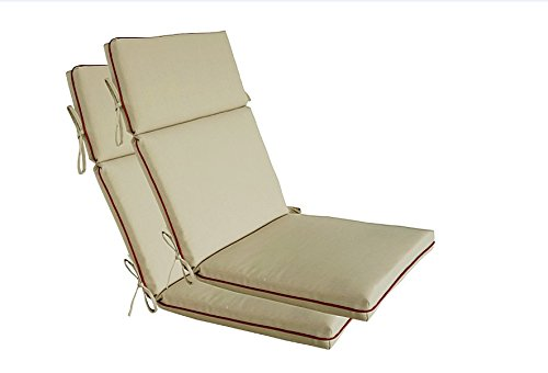 Spring Patio Lounge Chair - Bossima Indoor/Outdoor Light Khaki High Back Chair Cushion, Spring/Summer Seasonal Replacement Cushions.Set of 2