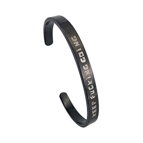 Fashion Metal Cuff Bracelets - BRAVE NEW Fashion Black Bracelet Keep Going Life Tree Inspirational Cuff Bracelet Stainless Steel Bracelet for Women&Men