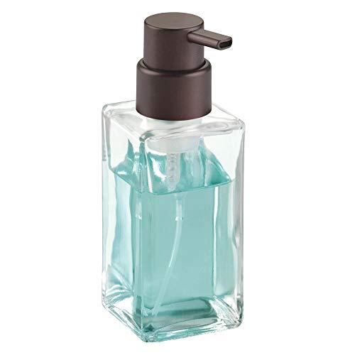 mDesign Modern Square Glass Refillable Foaming Hand Soap Dispenser Pump Bottle for Bathroom Vanities or Kitchen Sink, Countertops - Clear/Bronze