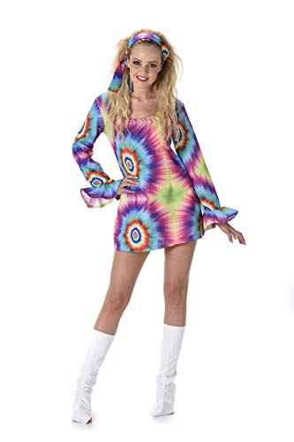 60s 70s Hippie Costume - Halloween Groovy Lady Disco Tie Dye Dress, -