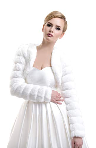 Ladies Bridal Wedding Mink Faux Fur Jacket Bolero FFJ-14 Ivory