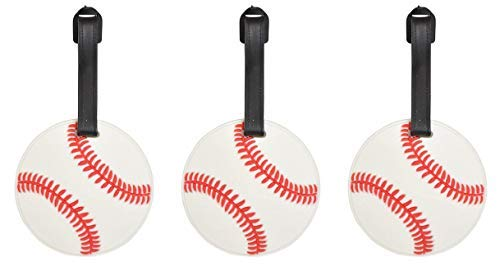 Sports Athlete Baseball Suitcase Luggage Tag, 3 Inch, Set of 3