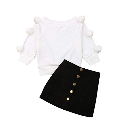 Kids Baby Girl Winter Skirt Outfit Set Ball Ribbed Knit Sweater Shirt Tops + Black Pencil Skirts Fall Clothing Set (Black Skirts, 12-18 Months)
