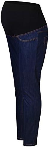 Las mujeres de piel sintética de maternidad pantalones, Womens sobre el vientre Strechy banda embarazadas Leggings