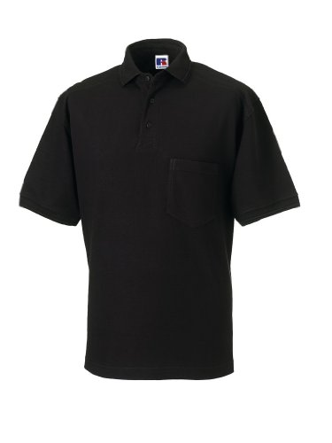 Russell Collection Strapazierfähiges Piqué Arbeits-Poloshirt R-011M-0 XXL,Black